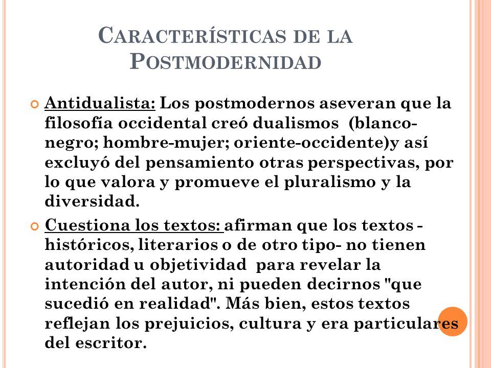 Características de la Postmodernidad