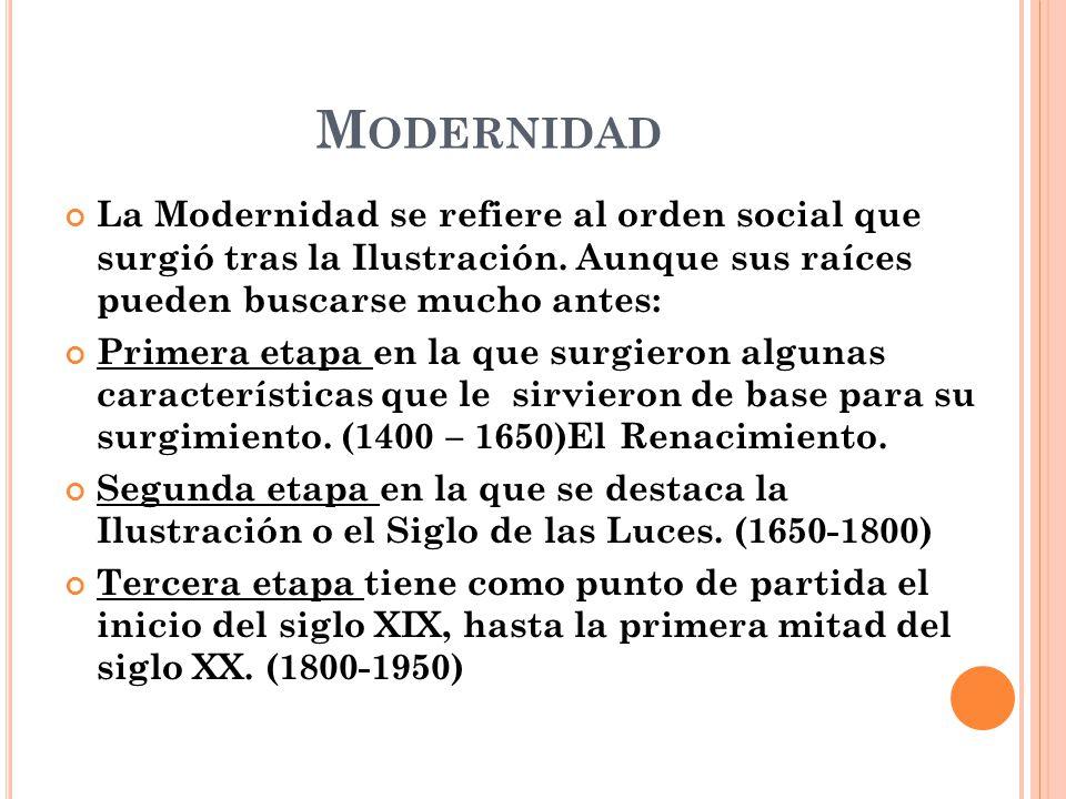 Modernidad La Modernidad se refiere al orden social que surgió tras la Ilustración. Aunque sus raíces pueden buscarse mucho antes: