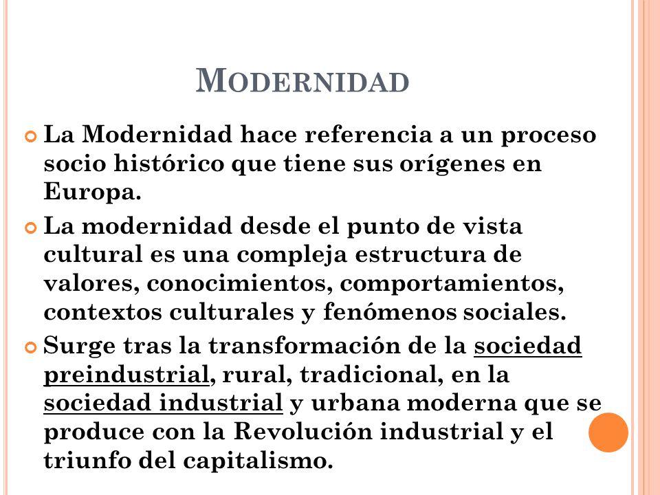 Modernidad La Modernidad hace referencia a un proceso socio histórico que tiene sus orígenes en Europa.
