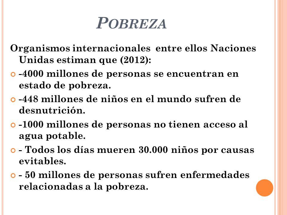 Pobreza Organismos internacionales entre ellos Naciones Unidas estiman que (2012): -4000 millones de personas se encuentran en estado de pobreza.