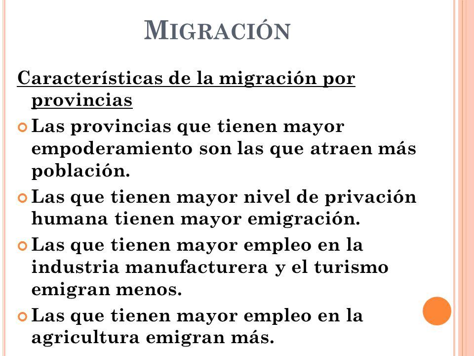 Migración Características de la migración por provincias
