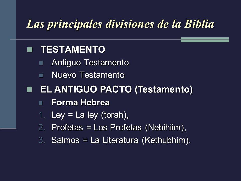 Las principales divisiones de la Biblia