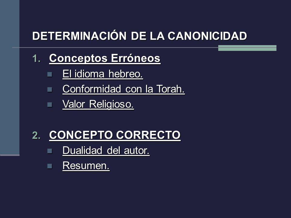 DETERMINACIÓN DE LA CANONICIDAD