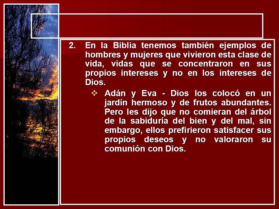 En la Biblia tenemos también ejemplos de hombres y mujeres que vivieron esta clase de vida, vidas que se concentraron en sus propios intereses y no en los intereses de Dios.