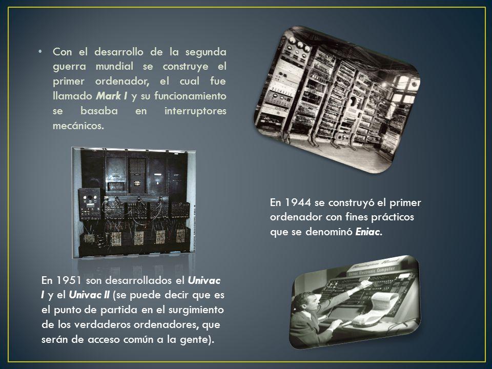 Con el desarrollo de la segunda guerra mundial se construye el primer ordenador, el cual fue llamado Mark I y su funcionamiento se basaba en interruptores mecánicos.