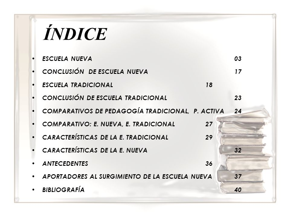 ÍNDICE ESCUELA NUEVA 03 CONCLUSIÓN DE ESCUELA NUEVA 17