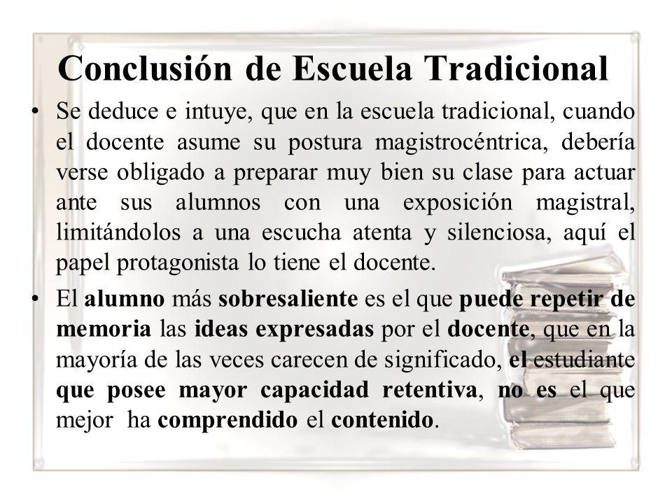 Conclusión de Escuela Tradicional