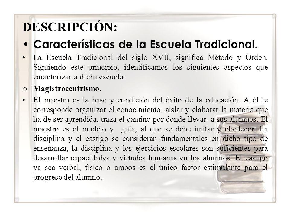 DESCRIPCIÓN: Características de la Escuela Tradicional.