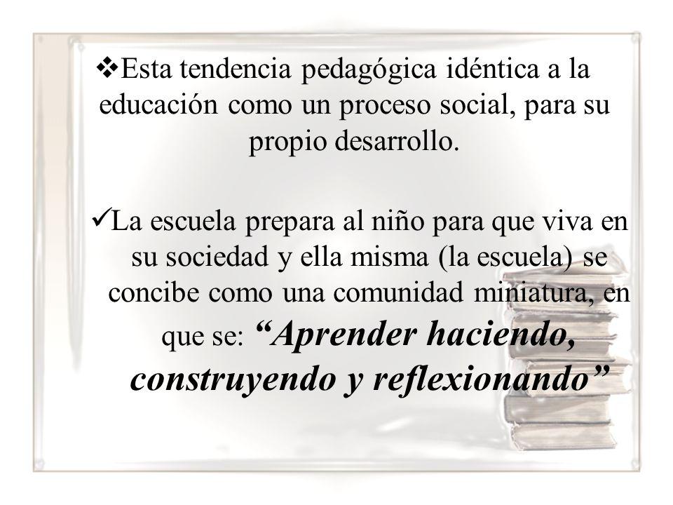 Esta tendencia pedagógica idéntica a la educación como un proceso social, para su propio desarrollo.