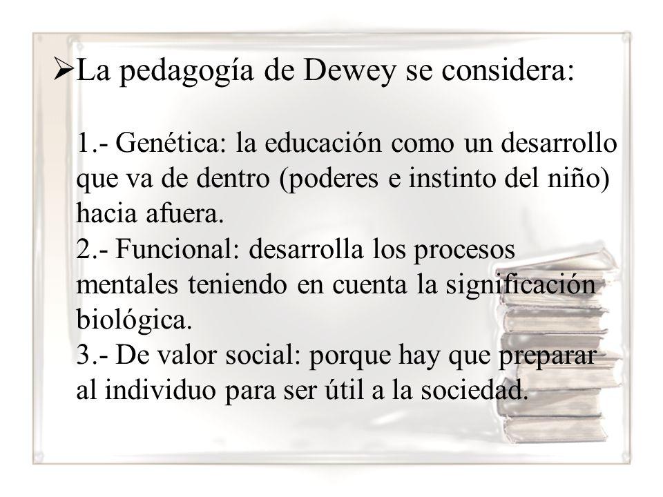 La pedagogía de Dewey se considera: 1