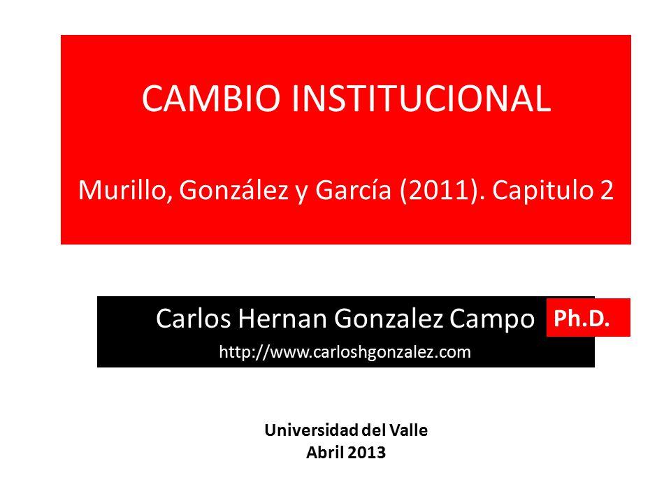 CAMBIO INSTITUCIONAL Murillo, González y García (2011). Capitulo 2
