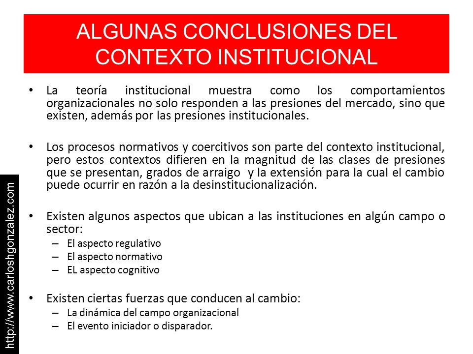 ALGUNAS CONCLUSIONES DEL CONTEXTO INSTITUCIONAL