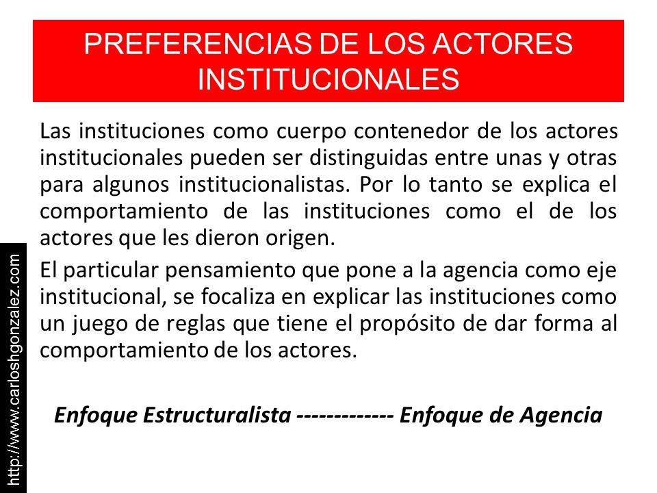 PREFERENCIAS DE LOS ACTORES INSTITUCIONALES