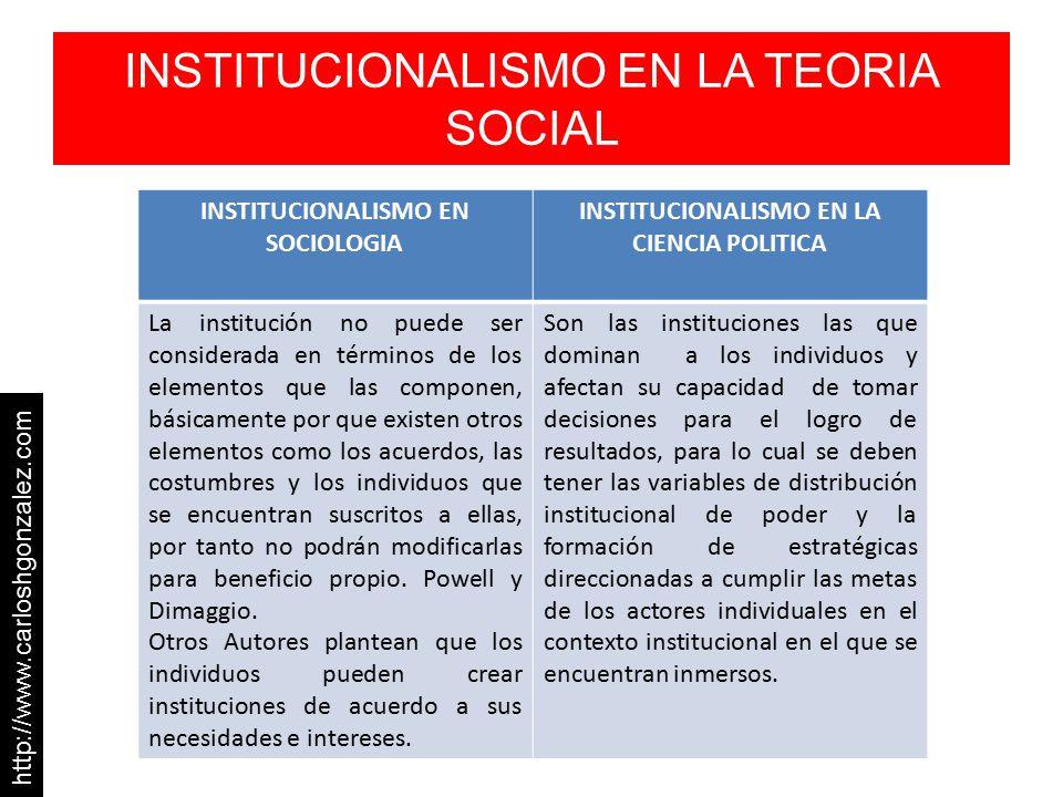 INSTITUCIONALISMO EN LA TEORIA SOCIAL