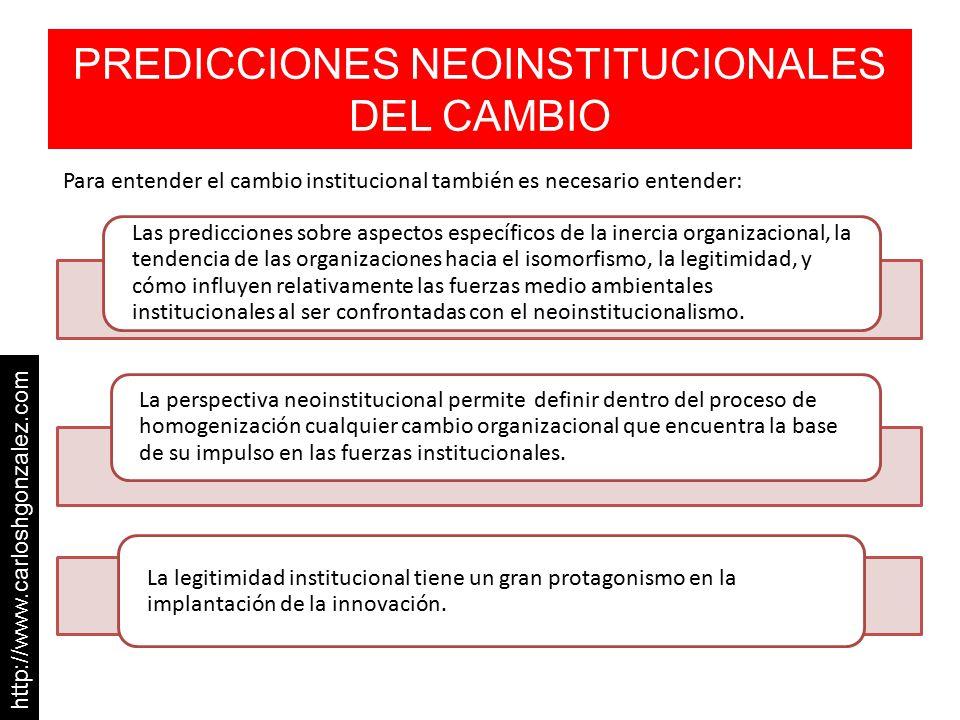 PREDICCIONES NEOINSTITUCIONALES DEL CAMBIO