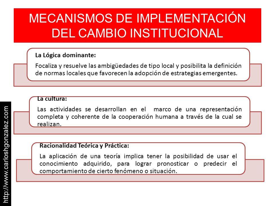 MECANISMOS DE IMPLEMENTACIÓN DEL CAMBIO INSTITUCIONAL