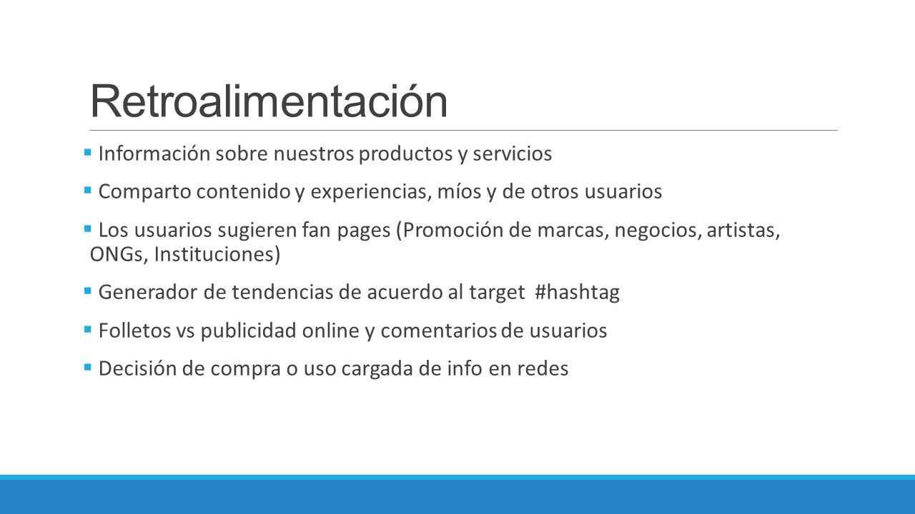 Retroalimentación Información sobre nuestros productos y servicios