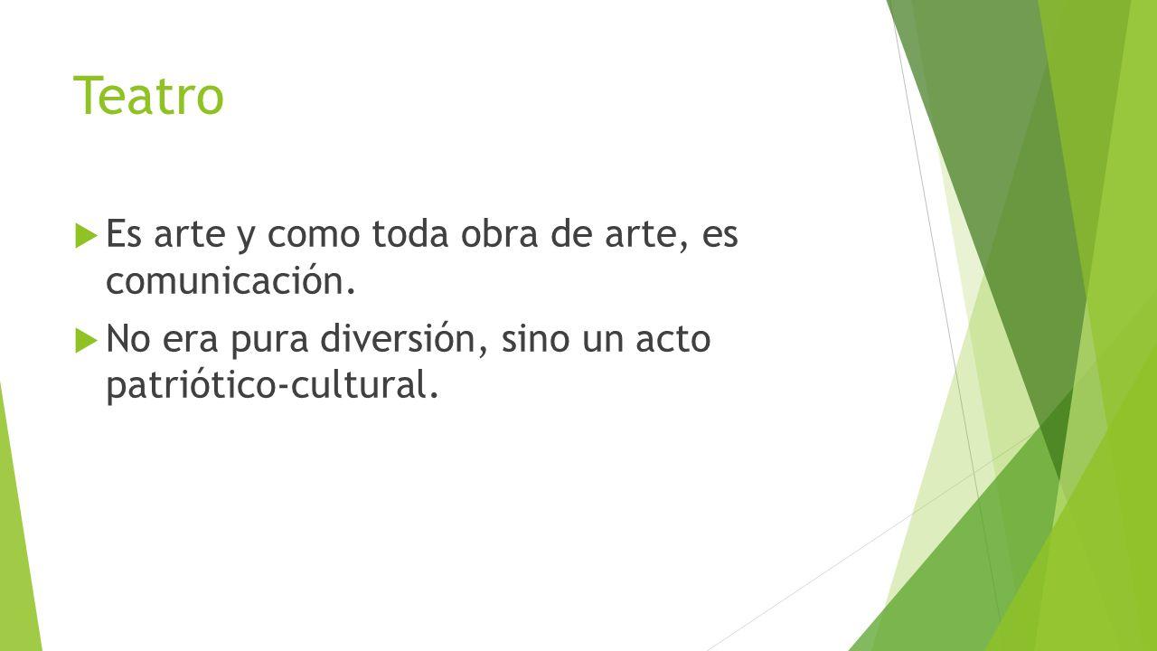 Teatro Es arte y como toda obra de arte, es comunicación.