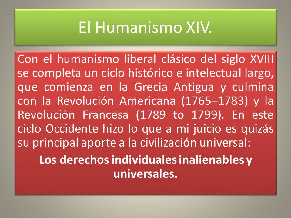 El Humanismo XIV.