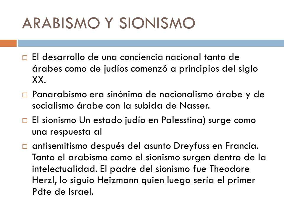 ARABISMO Y SIONISMO El desarrollo de una conciencia nacional tanto de árabes como de judíos comenzó a principios del siglo XX.