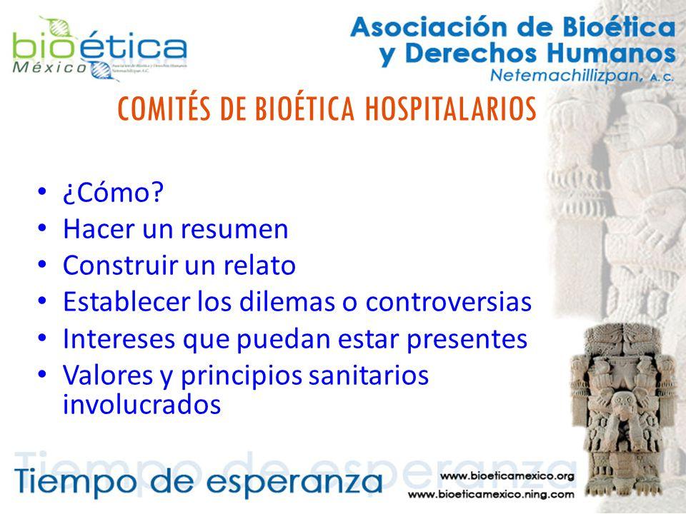 COMITÉS DE BIOÉTICA HOSPITALARIOS