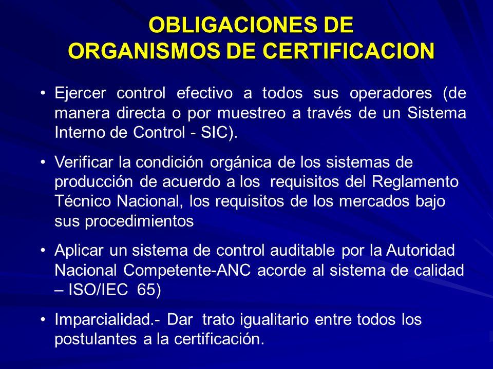 OBLIGACIONES DE ORGANISMOS DE CERTIFICACION