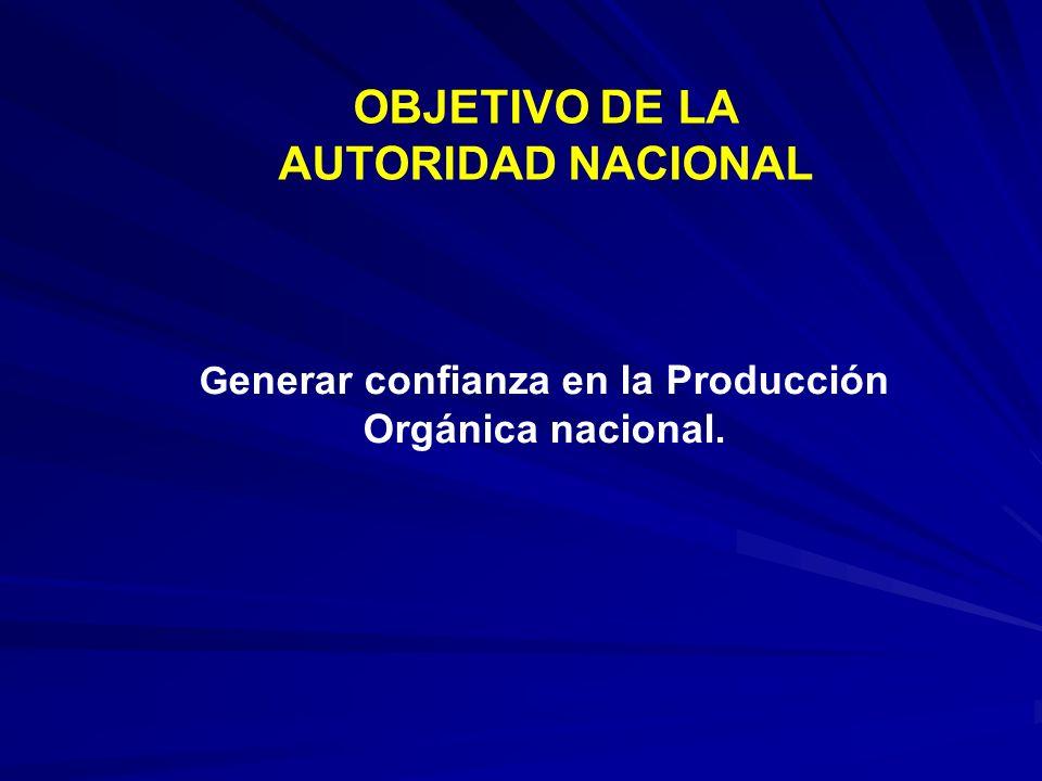 Generar confianza en la Producción Orgánica nacional.