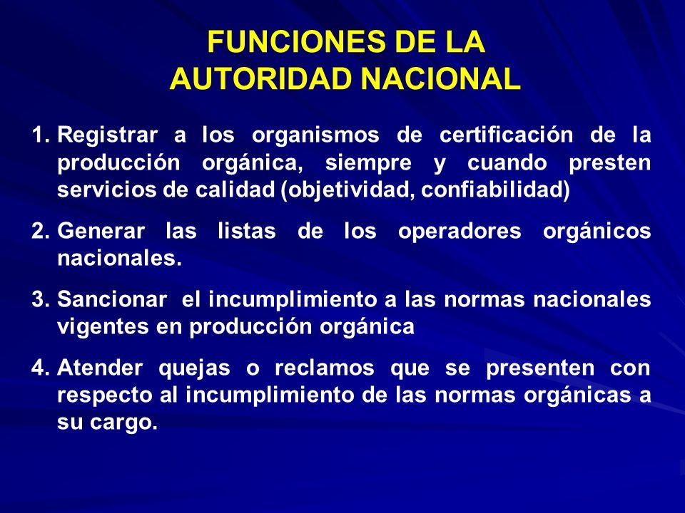 FUNCIONES DE LA AUTORIDAD NACIONAL