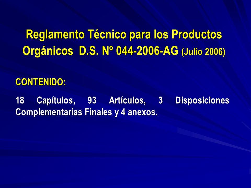 Reglamento Técnico para los Productos Orgánicos D. S
