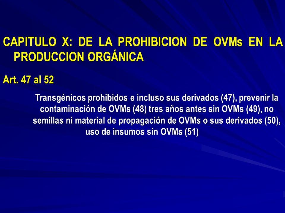 CAPITULO X: DE LA PROHIBICION DE OVMs EN LA PRODUCCION ORGÁNICA