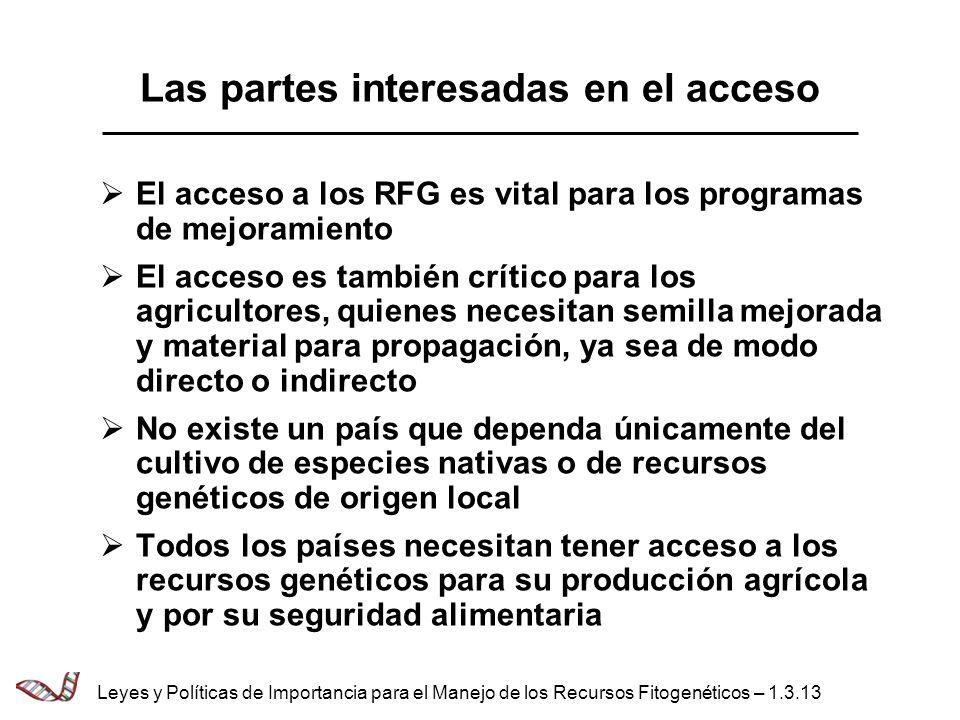 Las partes interesadas en el acceso