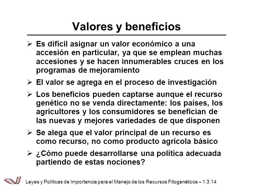 Valores y beneficios