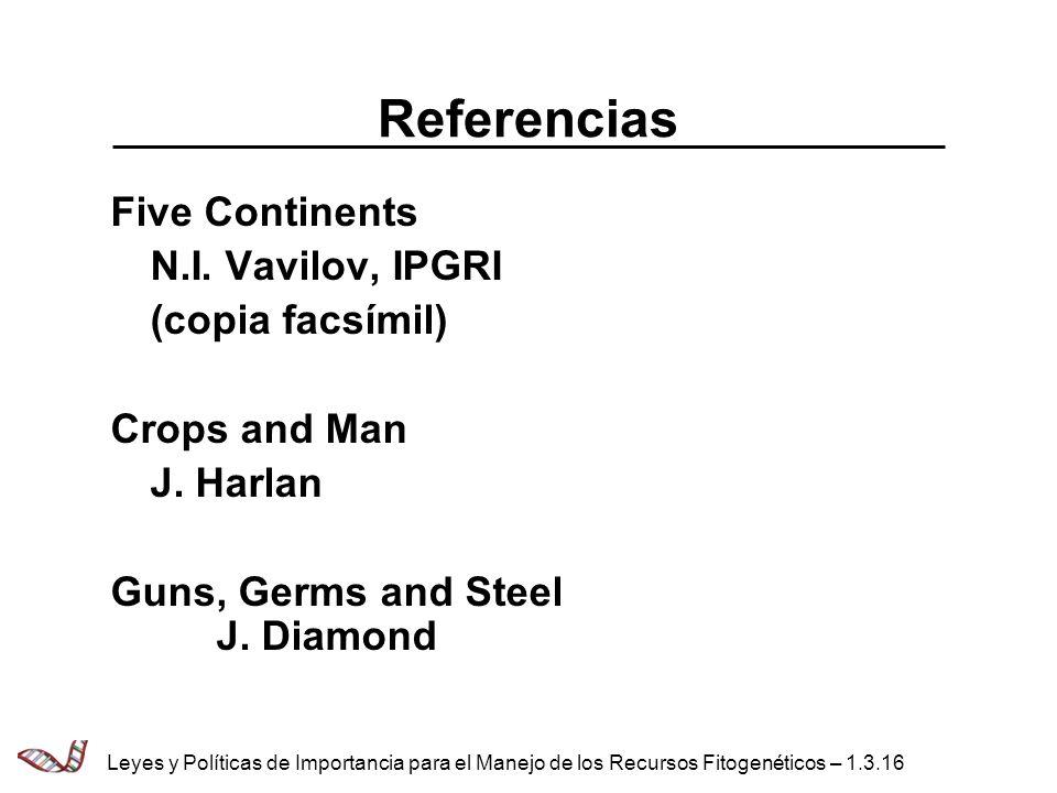 Referencias Five Continents N.I. Vavilov, IPGRI (copia facsímil)