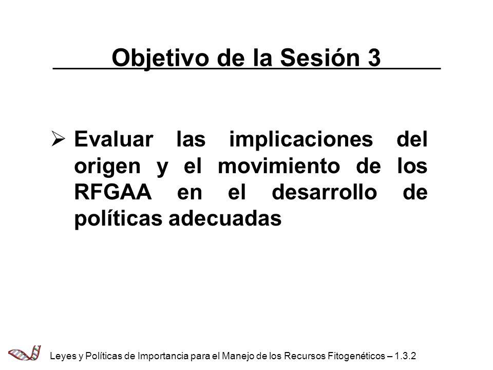 Objetivo de la Sesión 3 Evaluar las implicaciones del origen y el movimiento de los RFGAA en el desarrollo de políticas adecuadas.