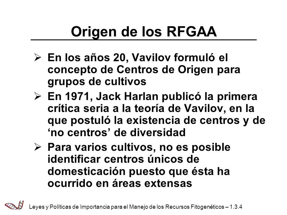 Origen de los RFGAA En los años 20, Vavilov formuló el concepto de Centros de Origen para grupos de cultivos.