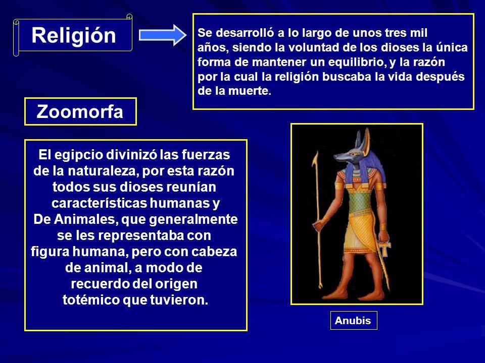 Religión Zoomorfa El egipcio divinizó las fuerzas