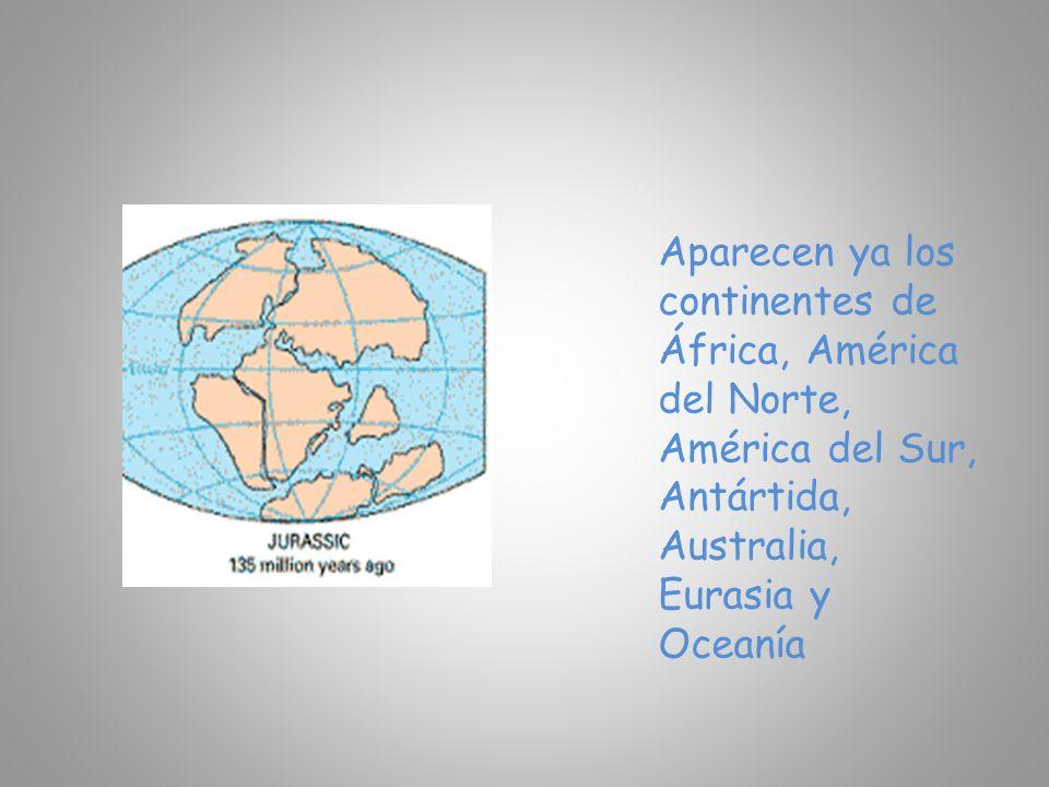 Aparecen ya los continentes de África, América del Norte, América del Sur, Antártida, Australia, Eurasia y Oceanía
