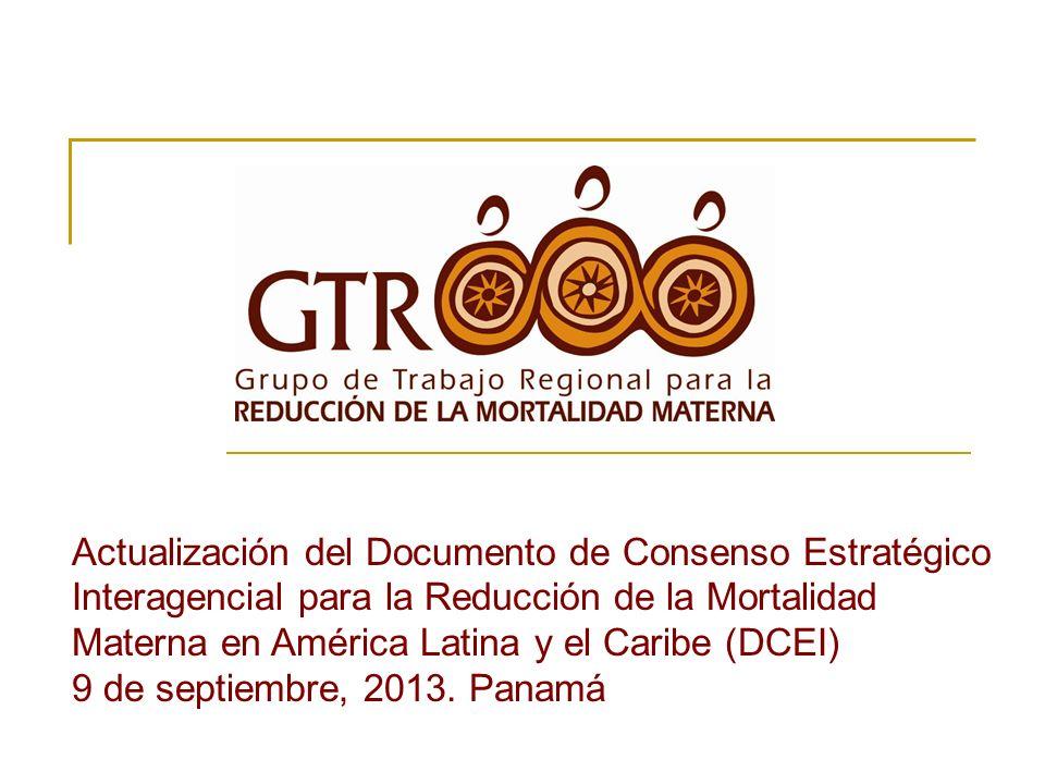 Actualización del Documento de Consenso Estratégico Interagencial para la Reducción de la Mortalidad Materna en América Latina y el Caribe (DCEI)
