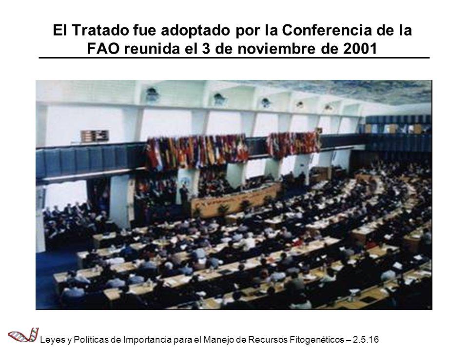 El Tratado fue adoptado por la Conferencia de la FAO reunida el 3 de noviembre de 2001