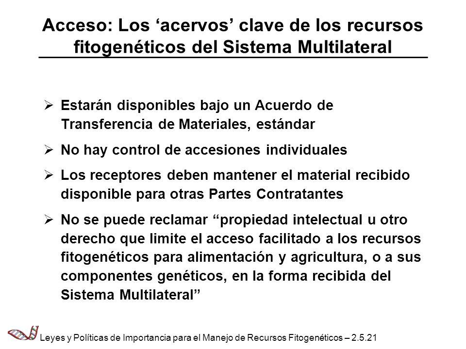 Acceso: Los 'acervos' clave de los recursos fitogenéticos del Sistema Multilateral