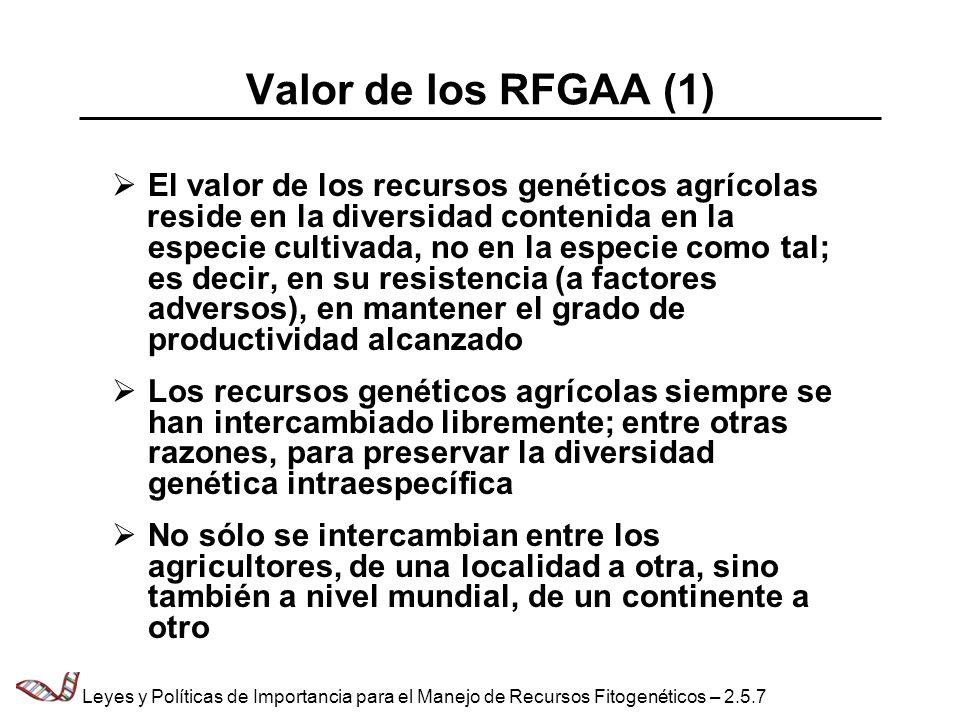 Valor de los RFGAA (1) El valor de los recursos genéticos agrícolas