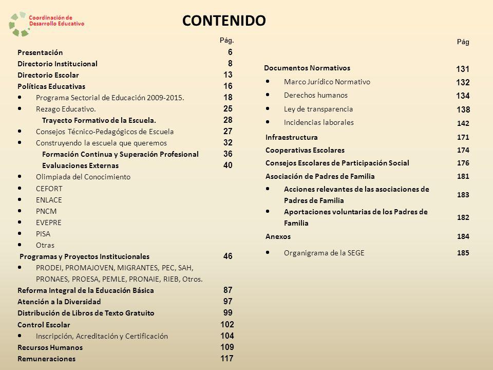 CONTENIDO Presentación 6 Directorio Institucional 8 Directorio Escolar