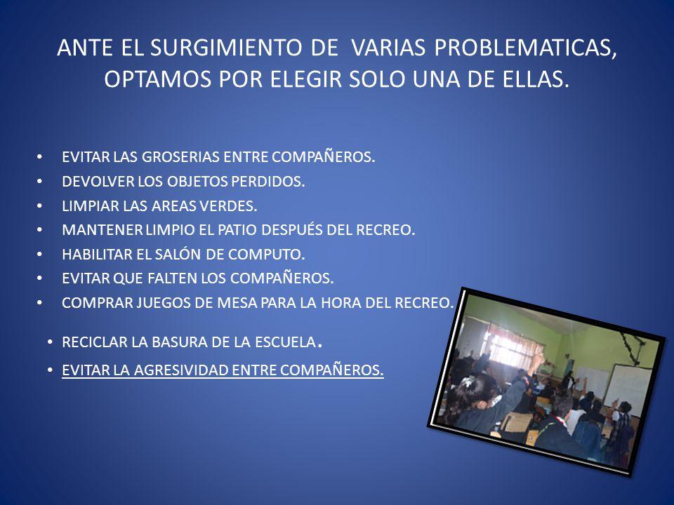 ANTE EL SURGIMIENTO DE VARIAS PROBLEMATICAS, OPTAMOS POR ELEGIR SOLO UNA DE ELLAS.