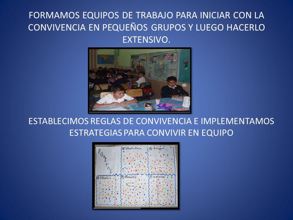 FORMAMOS EQUIPOS DE TRABAJO PARA INICIAR CON LA CONVIVENCIA EN PEQUEÑOS GRUPOS Y LUEGO HACERLO EXTENSIVO.