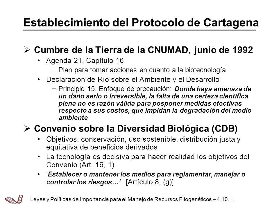 Establecimiento del Protocolo de Cartagena