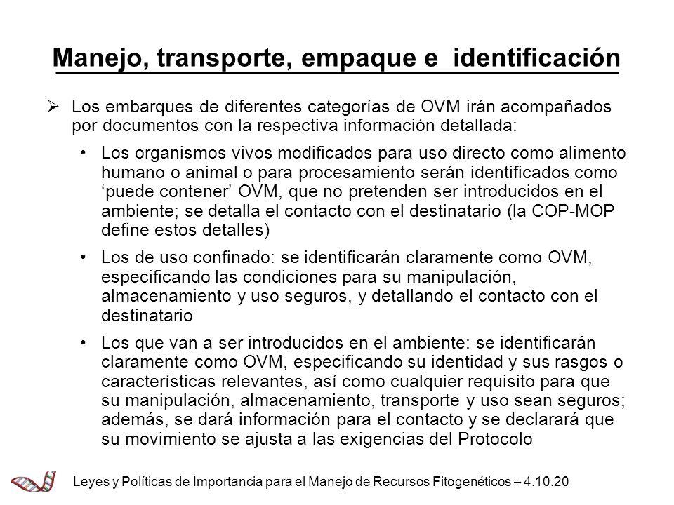 Manejo, transporte, empaque e identificación