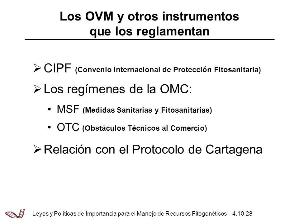 Los OVM y otros instrumentos que los reglamentan
