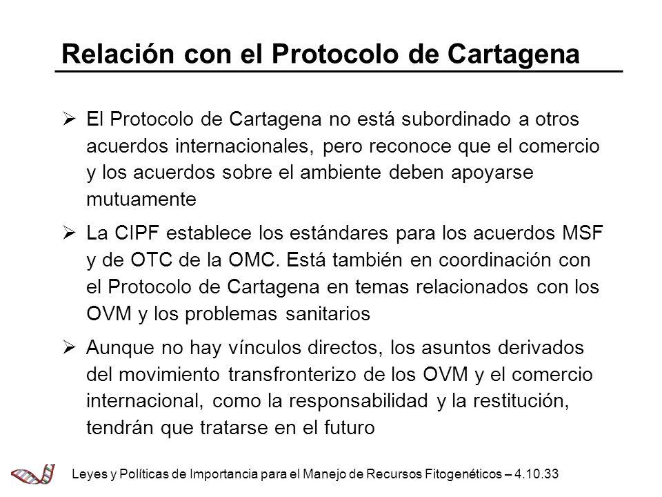 Relación con el Protocolo de Cartagena