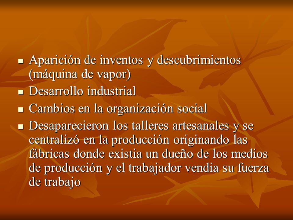 Aparición de inventos y descubrimientos (máquina de vapor)