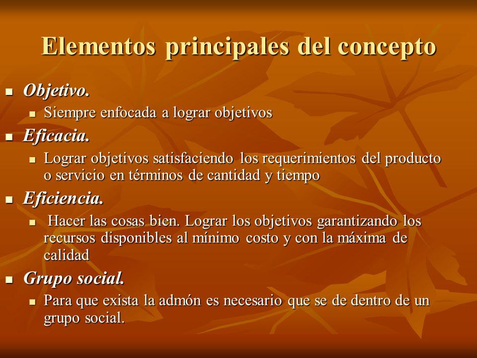 Elementos principales del concepto